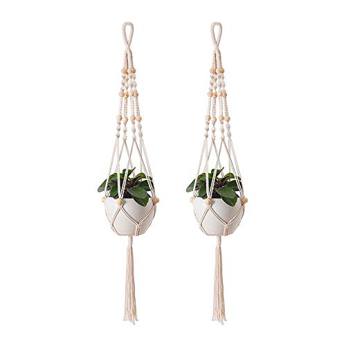 Aongray 2 Stück Makramee Blumenampel Hängeampel aus Baumwoll- Seil gemacht,Blumenhänger Pflanzhänger für Innen Außen,Handgefertigtes Blumentopf Pflanzen Halter für Balkon Decke,Wanddekoration