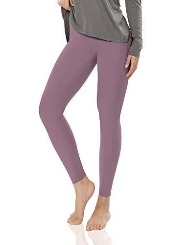 ODODOS 7/8 Basic Yoga Leggings, Brushed Buttery Soft High Waisted Slim Leggings +Plus Size, Lavender, Small-Medium