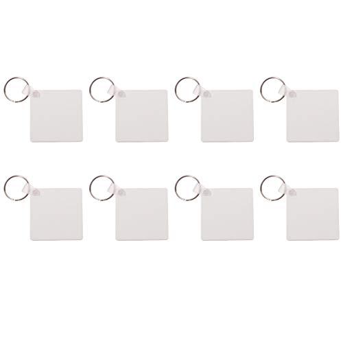 EXCEART 8 Stück Kreative Holz Hartfaserplatten Schlüsselanhänger Leere Rechteck Wärmeübertragung Schlüsselbund für Tasche Schlüssel Geldbörse Anhänger Anhänger