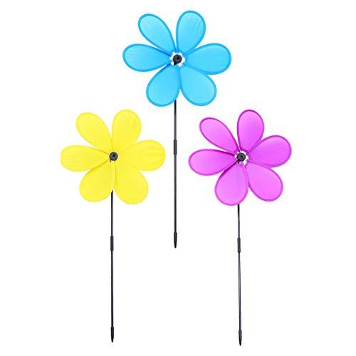BESTonZON Garten Windmühle Bunte Groß Kunststoff Stoff Blumen Windräder Gartenstecker Zufällige Farbe 3pcs Im Freien Rasen Hof Balkon Kindergarten Party Hochzeit Ostern Frühling Dekoration