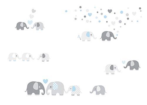 lovely label Wandsticker selbstklebend ELEFANTEN BLAU/GRAU - Wandaufkleber Kinderzimmer/Babyzimmer mit Elefanten in versch. Farben - Wandtattoo Schlafzimmer Mädchen & Junge, Wanddeko Baby/Kinder