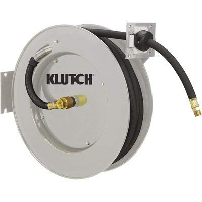 Klutch Auto Rewind Air Hose Reel - With 1/2in. x 50ft. Rubber Hose, Max. 300 PSI