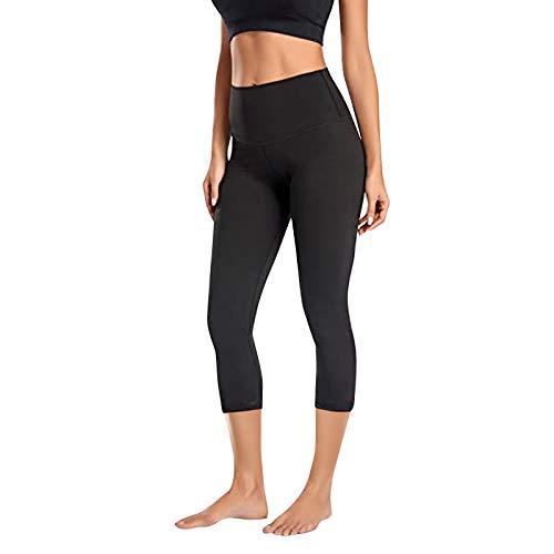 Cloodut Pantalones de deporte elásticos para mujer, pantalones de yoga, cintura alta, leggins para fitness, color negro, S