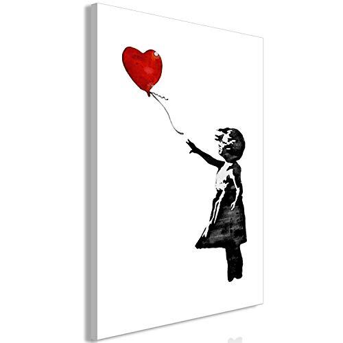 murando Cuadro en Lienzo Banksy Ballon Girl 60x90 cm 1 Parte Impresión en Material Tejido no Tejido Impresión Artística Imagen Gráfica Decoracion de Pared Chica Blanco Negro Rojo i-C-0149-b-a