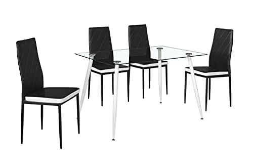 Cribel Set Sebra, tavolo in vetro con gambe in metallo bianco e 4 sedie in ecopelle nera