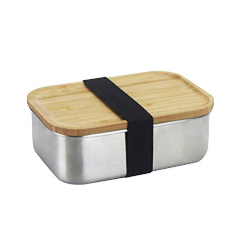 800ML 304 Stainless Steel Square Lunch Box with Wood Lid Food Container Bento Box School Outdoor Camping Lunch Box Best Partner For Lunch