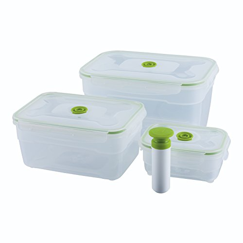 Kuhn Rikon 28068 Vacuum Saver Aufbewahrungsbox Set 4-teilig (0.6L/2.3L/4.7L & Pumpe) weiss/grün