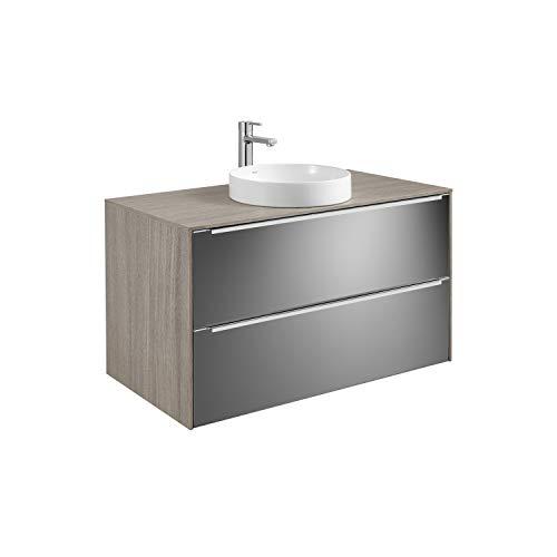 Mueble base 2 cajones para lavabo de encimera Soft o Round Inspira Roca, espejo fumato, 100 x 49 x 62 centímetros, color roble (Referencia: A851089403)