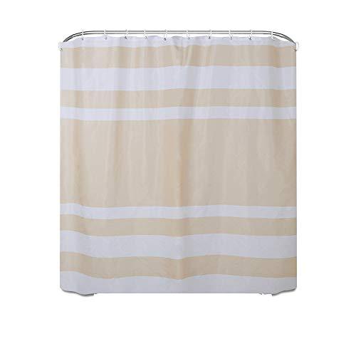 Shower Curtains Einfacher gestreifter Polyester Duschvorhang mit wasserdichtem Badezimmer Trennwand Duschvorhang (Color : Beige)