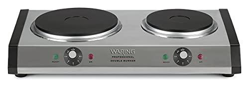 Waring Commercial WDB600 Cast Iron Double Burner, 1300W Large Burner and 500W small burner, 120V, 5-15 Phase Plug