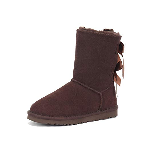 Australia Boots Women Sheepskin Snow Shoes Brand Winter Boots Genuine Leather Australian Shoes Mujer Botas Ankle Femmes Bottes,2 Bow Chocolate,5