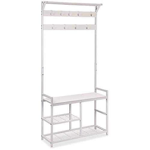 ErgoDesign Hall Trees with Bench and Coat Racks Coat Rack Shoe Bench Entryway Coat Racks with Storage Bench Storage Shelf Organizer Accent Furniture with Metal Frame A-White