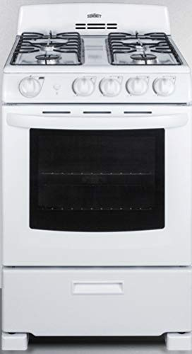 """Summit Appliance RG244WS 24"""" Wide Gas Range in White with Sealed Burners, Electronic Ignition, Broiler Pan, Push-to-Turn Knobs, Anti-Tip Bracket, Broiler Compartment and Oven Window"""