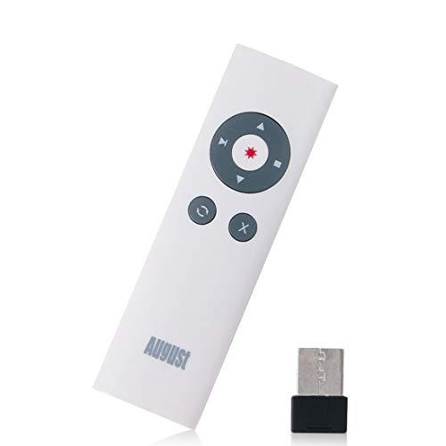 August LP200 - Presentador Inalámbrico para Presentaciones en Powerpoint, Rango de Control Remoto hasta 15 m, Receptor USB, Compatible con Windows, Mac OS y Linux