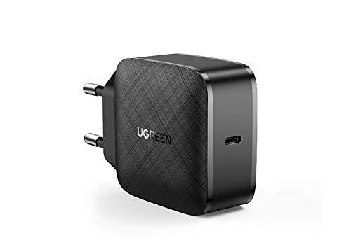 UGREEN Cargador USB C 65W con Tech GaN, Cargador de Pared USB tipo C Power Delivery 3.0 y Quick Charge 4.0 Carga Rápida para MacBook/DELL XPS/iPhone 11/SE/iPad Pro/Xiaomi Mi 10/Samsung S21/Huawei P40