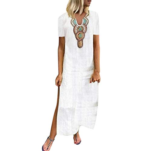 Damen Freizeitkleid Kaftan Kleid Luftiges Kleid Florydays Kleider Leinenkleid Tuchkleid Blusenkleid BöHmischen Druck V-Ausschnitt Seite Schlitz BöHmische Kleider Shift BöHmische Maxi-Kleid Y-Weiß-4 XL