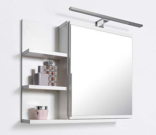 DOMTECH Badezimmer Spiegelschrank mit Ablagen und LED Beleuchtung, Badezimmerspiegel, Weiß Spiegelschrank, L