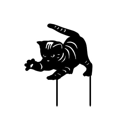 Estaca de decoración de jardín de gato, novedad, lindo gatito ahuecado con estatuas, decoración de acrílico de pie con forma de animal, arte de silueta de miau para jardines, patio, césped, porche, ba