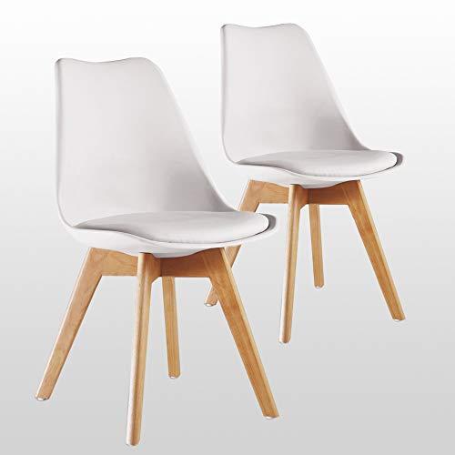 P & N Homewares (Set von 2) Lorenzo Tulip Stuhl Kunststoff Retro Esszimmer Stühle weiß schwarz grau rot gelb pink grün blau Retro weiß