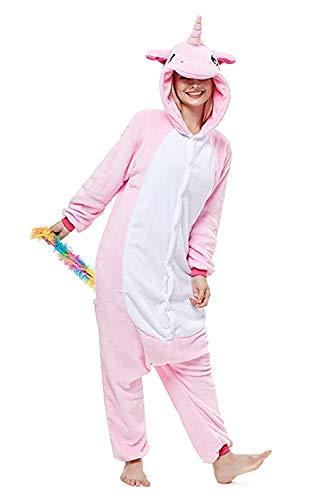 Mystery&Melody Unicornio Pijamas Cosplay Unicorn Disfraces Animales Franela Monos Unisex-adulto ropa de dormir Disfraces de fiesta (S, Rosado)
