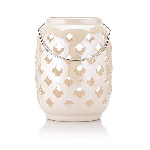 Laterne aus Keramik mit LED-Lichterkette und Timer - OUTDOOR geeignet (Rosé)