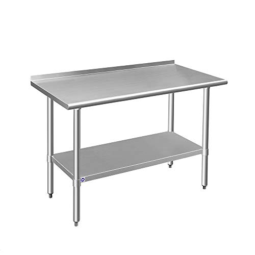 ROCKPOINT HX2019-07 Kitchen Prep & Work Table, 48x24x34.7inch, Silver