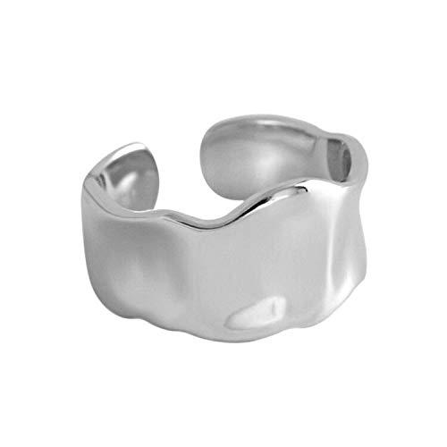 Moda 925 plata esterlina irregular liso anillo de apertura anillo geométrico cóncavo convexo convexo para mujeres Accesorios de niña ( Main Stone Color : Silver Color , Ring Size : 16mm adjustable )