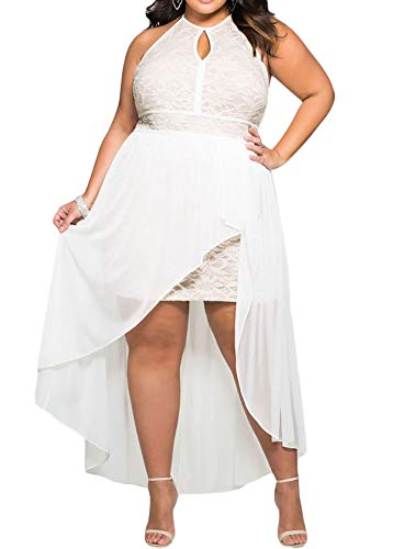 - 818 - Plus Size Hi Low Lace Overlay Halter Cocktail Casual Beach Wedding Maxi Dress (3X, White)