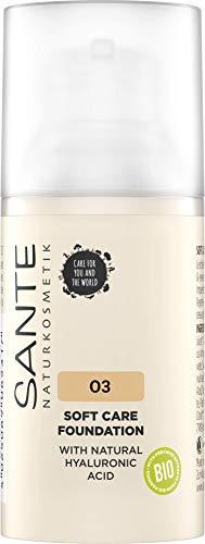 SANTE Naturkosmetik Soft Care Foundation 03 Warm Meadow, ideal für mittlere Hauttypen,...