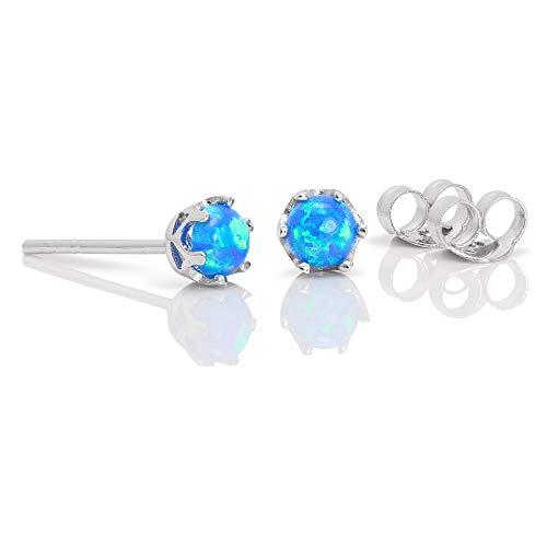 Sterling Silver & 4mm Opal Edelstein Ohrstecker | Opal: rund und blau