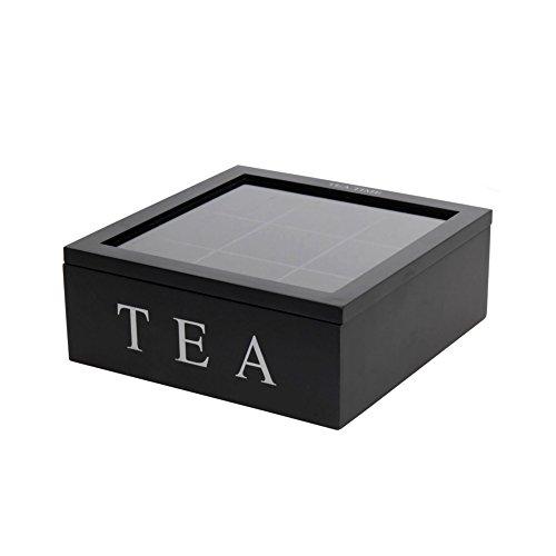 Schwarze Teebox: Holz, Glasdeckel, 9 Fächer