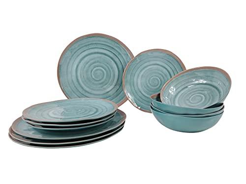 Melamin Geschirr Campinggeschirr-Set 4-Personen 12-teilig Terracotta Essteller Dessertteller Schüsseln