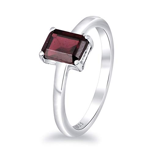 Red Garnet 2.15 Ct Octagon 925 Sterling Silver Solitaire Ring Christmas Gifts For Women By Orchid Jewelry