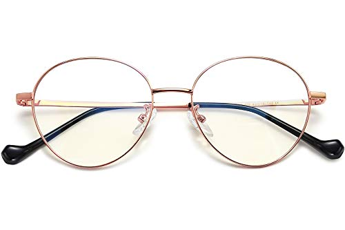 Joopin Occhiali luce blu donna uomo - moda retrò rotondi occhiali per computer filtro luce blu trasparente lente anti affaticamento degli occhi (oro rosa telaio)