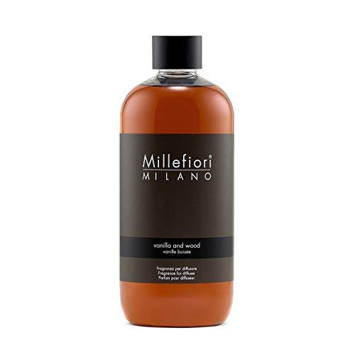 Millefiori 7REDV Vanilla und Wood Nachfüllflasche 500 ml für Raumduft Diffuser Natural, Plastik, Braun, 7.6 x 6.5 x 17.7 cm