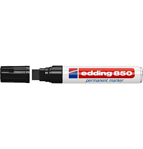 edding 850 Permanent Marker, mit Keilspitze, wasserfest, lichtbeständig, geruchsarm, Strichbreite 5-16 mm, schwarz, 5 Stück