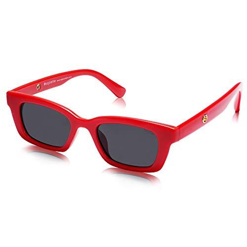 SOJOS Gafas de sol polarizadas rectangulares retro gruesas para hombres y mujeres UNITY SJ2134
