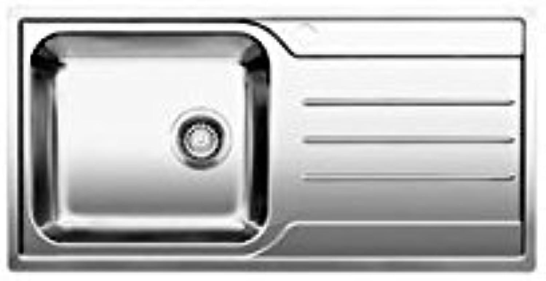 Weiß–Spülbecken mit einer Schale mit Tropfenfnger a rechts 1618490Finish Edelstahl-100x 50cm