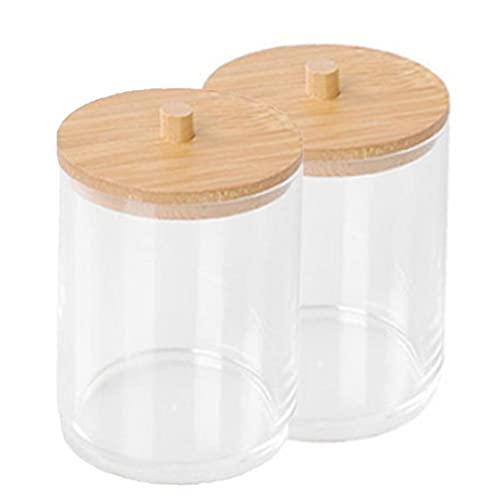 Homiki Los hisopos de algodón Titular de Almacenamiento Caja de acrílico Canastillo tarros con Unidad de Almacenamiento de 2 Piezas de bambú Transparente Tapa