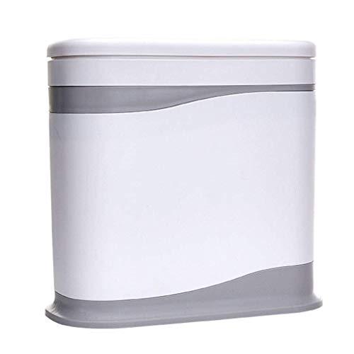 Limpio y ordenado Bote de Basura con Tapa de Basura Ovalada, Bandeja de clasificación, Papelera, Desodorante Barril Basura de Basura (Color: Blanco) (Color : White)