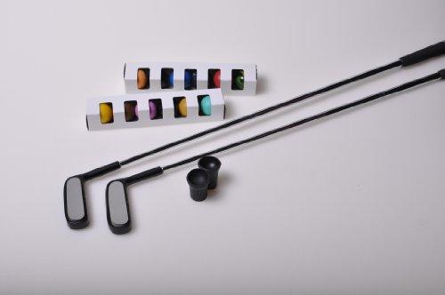 Minigolf Set 4 (=2 Top Schläger, 12 unterschiedliche Spezialbälle, 2 Sauger)