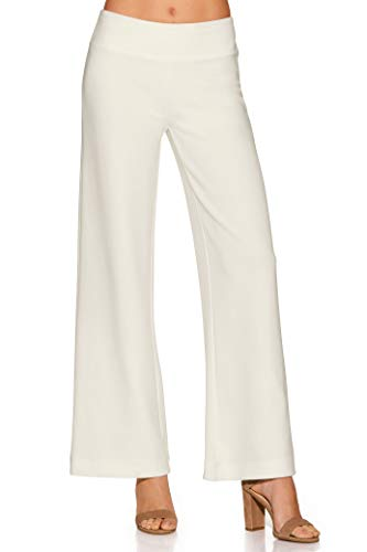 Boston Proper Women's Wrinkle-Resistant Solid Color Knit Palazzo Pant Ivory Coast X-Small