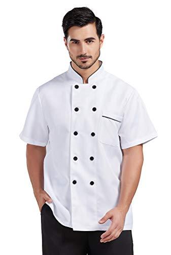 Nanxson Giacca da cuoco manica corta da uomo in cotone traspirante da cucina uniforme da lavoro CFM0001 (L, bianca) (bianca, S)