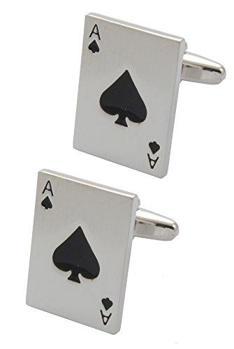 COLLAR AND CUFFS LONDON - Boutons de Manchette avec Boite-Cadeau - Grand Qualité - As de Pique - Laiton - Couleur Argent - Paquet de Cartes - Poker La