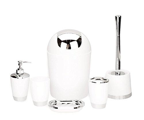 GMMH 6pcs Set DE BAÑO baño Set DE Accesorios DISPENSADOR DE JABÓN Soporte ESCOBILLA DE BAÑO Juego DE BAÑO - Blanco
