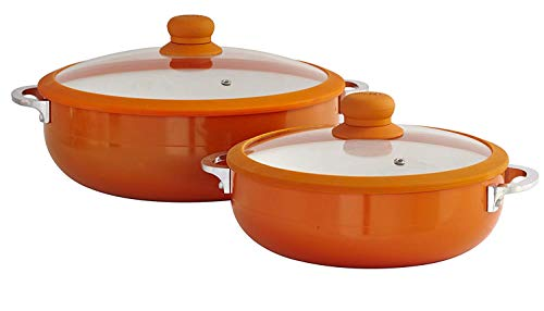 IMUSA USA 2 Piece Orange Ceramic Interior Caldero Set with Orange Silicone Rim and Glass Lid