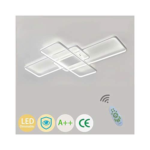 LED Modern Deckenleuchte Wohnzimmerlampe Dimmbar mit Fernbedienung Chic Eckig Design Acryl-schirm Deko Deckenlampe Metall Kronleuchter für Küchen Esszimmer Bad Flur Decke Lampe L90*W50cm (Weiß)