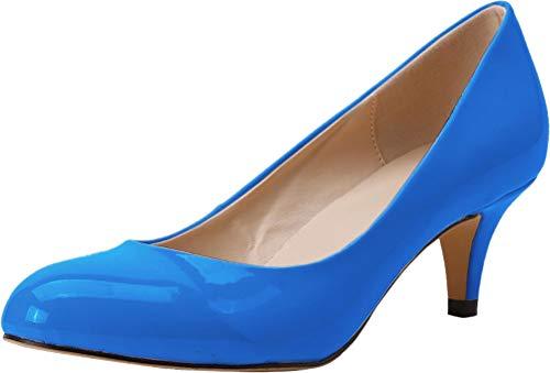 Find Nice Damen Pumps mit spitzem Zehenbereich, bequem, Kätzchenabsatz, Hochzeitskleid, Brautkleid, Blau - himmelblau - Größe: 40 EU