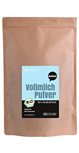 Wohltuer Bio Vollmichpulver 500g | Bio & Weidehaltung | Sehr gut löslich & frei von Zusätzen | Milchpulver aus Deutschland