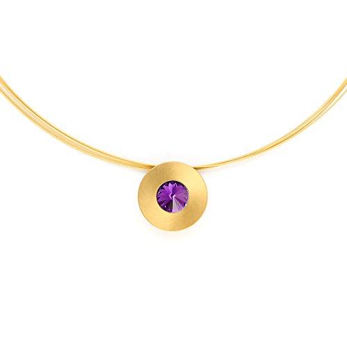 Heideman Halskette Damen Lumen aus Edelstahl Gold farbend matt Kette für Frauen mit Swarovski Stein Kristall Amethyst im Fantasie Edelsteinschliff